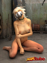 Blonde with metal mask gets naked on the floor to - Picture 7