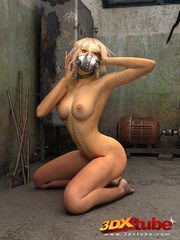 Blonde with metal mask gets naked on the floor to - Picture 8
