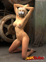 Blonde with metal mask gets naked on the floor to - Picture 9