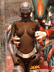 Black android girl is pleasured and fucked by a weird - Picture 1