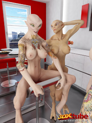 Two alien babes have a hot threesome with a hung - Picture 1