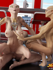 Two alien babes have a hot threesome with a hung - Picture 6