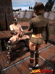 Dude with metal helmet fuck busty girl on top of - Picture 1