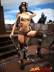 Dude with metal helmet fuck busty girl on top of - Picture 2