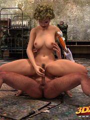 Curly blonde android girl with hairy box rides a hung - Picture 3