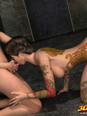 Two tattooed brunette trannies fucks each other on - Picture 2