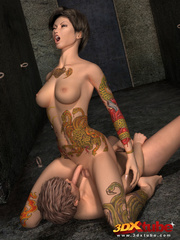 Two tattooed brunette trannies fucks each other on - Picture 3