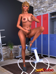 Sultry tanned tranny gets hard on gym locker room and - Picture 2