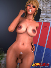 Sultry tanned tranny gets hard on gym locker room and - Picture 3