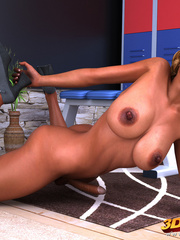 Sultry tanned tranny gets hard on gym locker room and - Picture 9