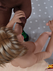 Sweet blonde shemale is DPed by a black and a white - Picture 3