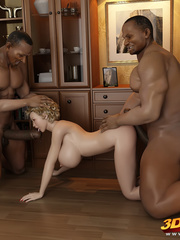 Blonde tranny have fun in a threesome with two hung - Picture 7