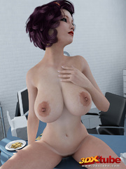 Sultry big-titted secretary works naked, sits on - Picture 4