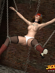 Punk babe hangs off chains naked to showcase hungry - Picture 3