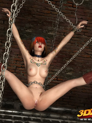 Punk babe hangs off chains naked to showcase hungry - Picture 4