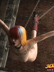 Punk babe hangs off chains naked to showcase hungry - Picture 9