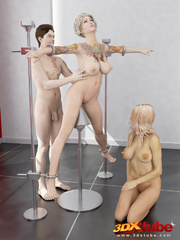 Busty blonde is tied, gets pole-fucked by another - Picture 4