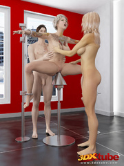 Busty blonde is tied, gets pole-fucked by another - Picture 5