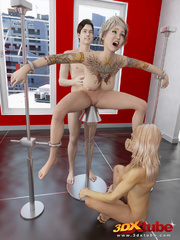 Busty blonde is tied, gets pole-fucked by another - Picture 7