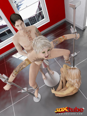 Busty blonde is tied, gets pole-fucked by another - Picture 9