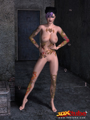 Tattooed, purple-haired poses sexily while naked on - Picture 2