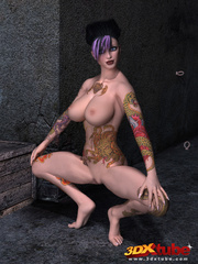 Tattooed, purple-haired poses sexily while naked on - Picture 3