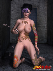 Tattooed, purple-haired poses sexily while naked on - Picture 8