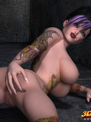 Tattooed, purple-haired poses sexily while naked on - Picture 9