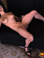 Brunette with black heels spreads legs to show pussy - Picture 6