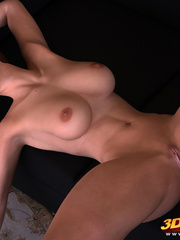 Brunette with black heels spreads legs to show pussy - Picture 8