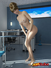 Brunette dons a kinky white bikini and poses - Picture 3