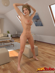 Fit blonde babe gets to the floor and exposes pussy. - Picture 4
