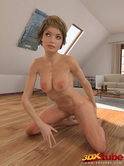 Fit blonde babe gets to the floor and exposes pussy. - Picture 8