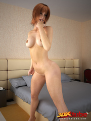 Redhead with thick bush poses seductively on bed - Picture 1