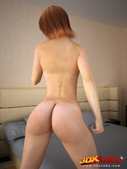 Redhead with thick bush poses seductively on bed - Picture 2
