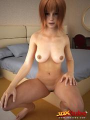 Redhead with thick bush poses seductively on bed - Picture 6