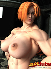 Redhead with huge muscles with big boobs shows pussy - Picture 1