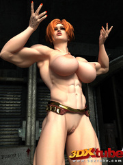 Redhead with huge muscles with big boobs shows pussy - Picture 4