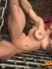 Big-bod babe with pink hair poses suggestively - Picture 5