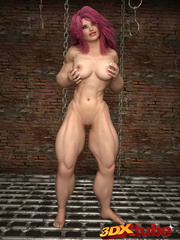 Big-bod babe with pink hair poses suggestively - Picture 6