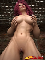 Big-bod babe with pink hair poses suggestively - Picture 7