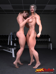 Two gym babes have hot sex after a session at the - Picture 1