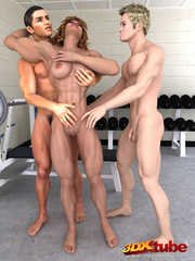 Ripped black babe is DPed by two hung guys in gym. - Picture 1