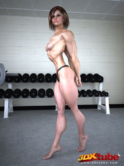 Fierce babe is gets naked and to expose pussy in gym! - Picture 1