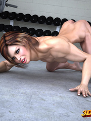 Fierce babe is gets naked and to expose pussy in gym! - Picture 6