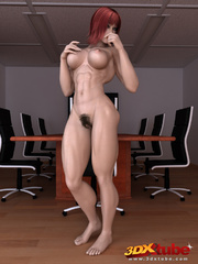 Ripped redhead boss with very hairy vagina poses - Picture 1