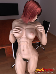 Ripped redhead boss with very hairy vagina poses - Picture 2