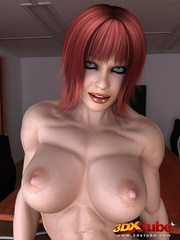 Ripped redhead boss with very hairy vagina poses - Picture 4