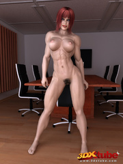 Ripped redhead boss with very hairy vagina poses - Picture 5