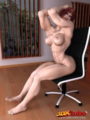 Ripped redhead boss with very hairy vagina poses - Picture 6